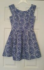 NWT Modcloth Blue & White Damask Mini Dress Sz 8 Pleated Linen Retro Miss Cherry