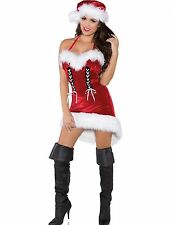 Sexy Miss Santa Claus Christmas Red Velvet Dress Holiday Costume