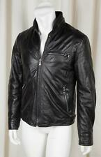 DOLCE & GABBANA Mens Black Leather Long-Sleeve Coat Bomber Aviator Jacket 48/38