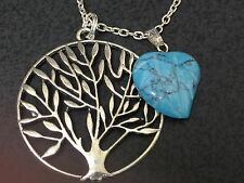 """Leaf Carved Turquoise Charm Tibetan Silver with 18"""" Necklace G25"""