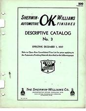 ORIGINAL SHERWIN WILLIAMS AUTOMOTIVE FINISHES DESCRIPTIVE CATALOG PRINTED 1937 2