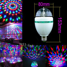 E27 3W Dazzling LED Stage Lights RGB Crystal Colorful Rotating Ball Party Disco