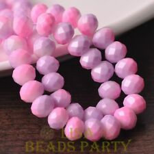 Hot 15pcs 10mm Glass With Color Coated Rondelle Loose Beads Baby Pink&Purple