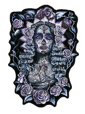 Santa Muerte  EMBROIDERED 9 INCH IRON ON MC BIKER  PATCH