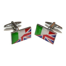 Union Jack British UK & Italy Italian Joined Flag CUFFLINKS Men Present GIFT BOX