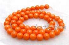 "SALE small 7-8mm Orange Natural Round coral Loose Beads strand 15"" - los660"