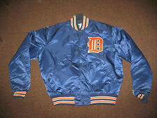 Vtg Retro Detroit Tigers MLB Baseball Starter Satin Coat Jacket Snap Up Men's XL
