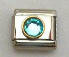 9mm Classic Size Italian Charms Round Gold trim Birthstone December Turquoise