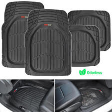Motor Trend FlexTough 4pc Rubber Floor Mats - Thick Heavy Duty All Weather Black
