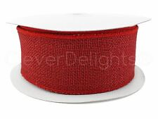 """2.5"""" Red Burlap Ribbon - 25 Yards - Wired / Finished Edges - Super-Fine Weave"""