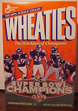 BALTIMORE RAVENS SUPERBOWL XXXV WHEATIES SEALED UNOPENED CERIAL BOX, V.GOOD COND