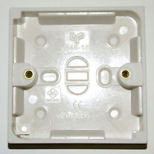 2 x WHITE SURFACE PATTRESS BOX 19mm for LIGHT SWITCHES etc 86mm SQUARE EN60670-1