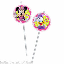 MINNIE MOUSE Pink Girls Birthday Party Supplies Tableware DRINKING STRAWS x6