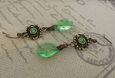 VINTAGE STYLE DANGLE DROP EARRINGS GREEN Art Deco