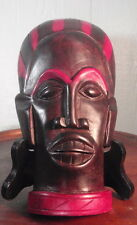 African Baule Hand Carved Wood Portrait Mask Wall Decor Red Black Wood Ebony
