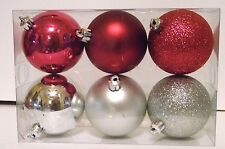 HOT PINK & SILVER 3 INCH SHATTER RESISTANT CHRISTMAS ORNAMENTS DECORATIONS