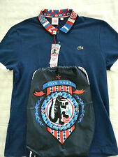 NWT LACOSTE Men's Short Sleeve Blue Polo Shirt Size 7 XL w/ Backpack Sanghon Kim