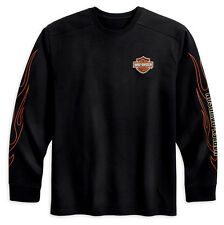 Harley Davidson HD Mens Black Long Sleeve Shirt w/ Flame Graphics Size 2XL