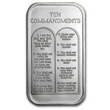 1 oz Ten Commandments Silver Bar - Hebrew - SKU #64384