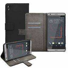 Wallet BLACK Leather Flip Case Cover Pouch Saver For HTC Desire 530
