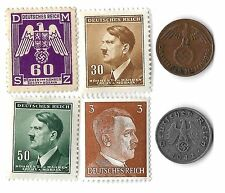 Rare Old WWII Nazi Germany Swastika Coin Hitler Stamp Collection War Eagle Lot