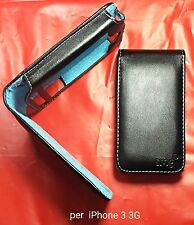 CUSTODIA PELLE per iPHONE 3 3G 3GS NERA con interno nabuk BLU FLIP COVER CASE