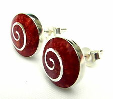 Pair Of Sterling Silver 925  Blood  Red  Spiral  Ear Studs  !!    Brand  New  !!