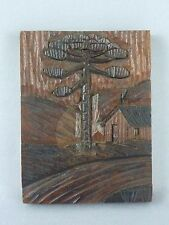 Hand Carved Signed Wooden Plaque Picture / Cabin Tree River Mountains / 4.5 x 6