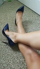 NWT Jimmy Choo ANOUK Liquid Metallic Denim heels pumps size 36.5 US 6 6.5
