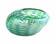 """New 10"""" Hand Blown Art Glass Vase Bowl Green Patterned Decorative"""