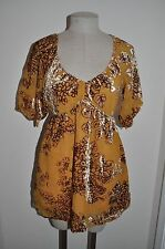 HALE BOB Gold & Craft sz M Burnout Velvet Boho Festival Tunic Blouse Top