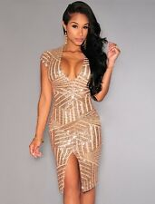 New gold deep V-neck sequin midi dress club wear party wear Size M UK 10