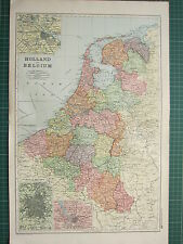 1900 LARGE VICTORIAN MAP ~ HOLLAND & BELGIUM AMSTERDAM ANTWERP ENVIRONS BRUSSELS
