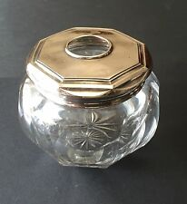 Vintage Webster Co. Sterling Silver Hair Receiver Crystal Cut Glass Vanity Piece