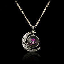 Cute Purple Skull Glass Cabochon Pendant Necklace Hollow Moonstone Sweater chain