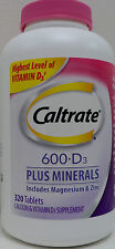 Caltrate 600+D3 Plus Minerals Dietary Supplement 320 Tablets