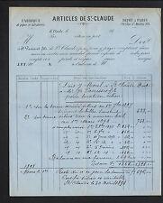"""SAINT-CLAUDE (39) USINE de PIPES à TABAC & TABATIERE """"Jh. PANISSET Fils"""" en 1898"""