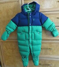 Boys infant Polo Ralph Lauren puffer snowsuit/ bunting green down 6M NWT $165