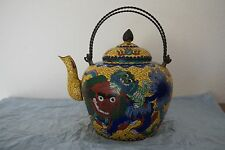 RARE 19TH ANTIQUE CHINESE VINTAGE CLOISONNE ENAMEL TWO COLORFUL KYLINS TEAPOT
