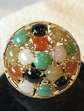 Vintage 14K Yellow Gold Multi-color Jade Cabochon Greek Key Ring   Size 5