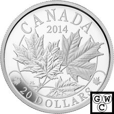 2014 'Majestic Maple Leaves' Proof $20 Silver Coin 1oz .9999 Fine(14014)(NT)OOAK