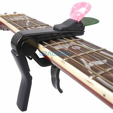 Acoustic Electric Guitar Capo With Pick Holder Single Hand Quick Change Capo NEW