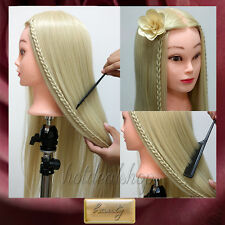 """26""""TOP 30% Real Human Hair Hairdressing Training Doll Head Mannequin"""