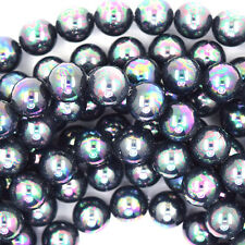 "8mm rainbow peacock shell pearl round beads 16"" strand S2"