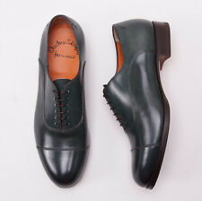 NIB $965 SANTONI FATTE A MANO Dark Green Leather Captoe Dress Shoes US 8.5 D New