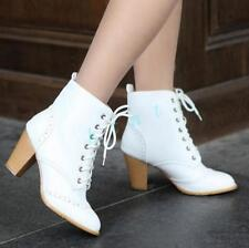Gothic Womens Lace Up Ankle Boots Round Toe Court Shoes Block High Heels Pumps
