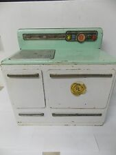 1950s Era Wolverine Electric Toy Oven Stove Mint Green & White Working!