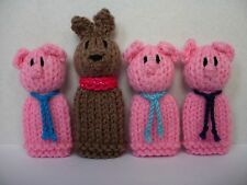 Three Little Pigs and the Big Bad Wolf - 4 Hand Knitted Finger Puppets  - NEW