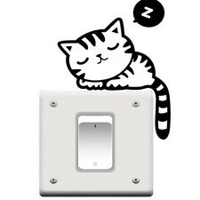 3 PCS Cute Cat Nap Pet Light Switch Funny Wall Decal Vinyl Stickers Black YG