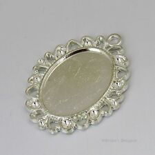 25x18 Oval w/ Accents Silver Plated Cabochon (Cab) Drop Setting (#B51271)